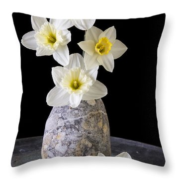 Spring Daffodils Throw Pillow by Edward Fielding
