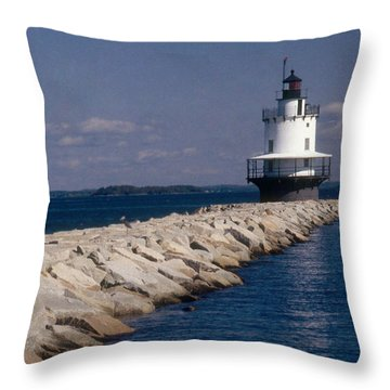 Spring Point Ledge Lighthouse Throw Pillow by Bruce Roberts