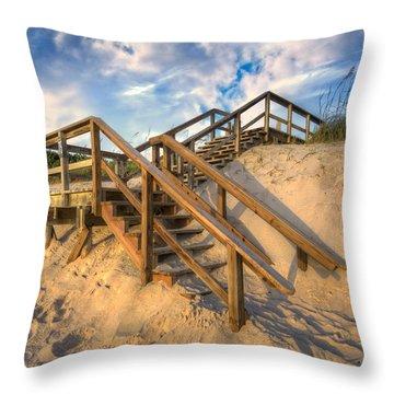Stairway To Heaven Throw Pillow by Debra and Dave Vanderlaan