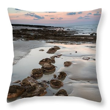 Summer Landscape With Rocks On Beach During Late Evening And Low Throw Pillow by Matthew Gibson