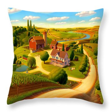Summer On The Farm  Throw Pillow by Robin Moline
