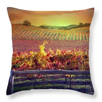 Sunrise Vineyard Throw Pillow by Stephanie Laird