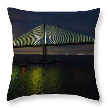 Sunshine Skyway Bridge Tampa Florida Throw Pillow by Rene Triay Photography