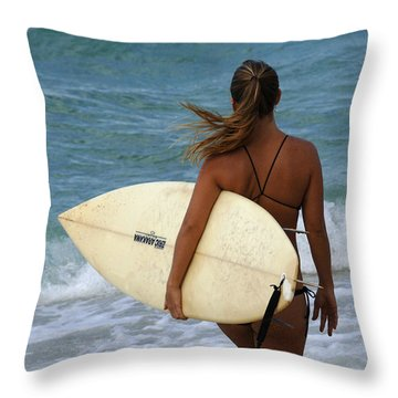 Surfer Girl Throw Pillow by Bob Christopher