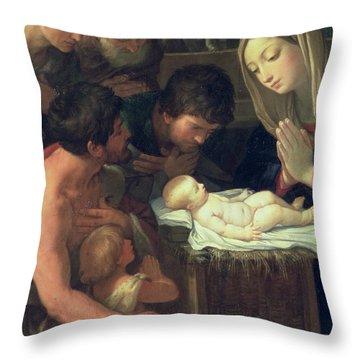 The Adoration Of The Shepherds Throw Pillow by Guido Reni
