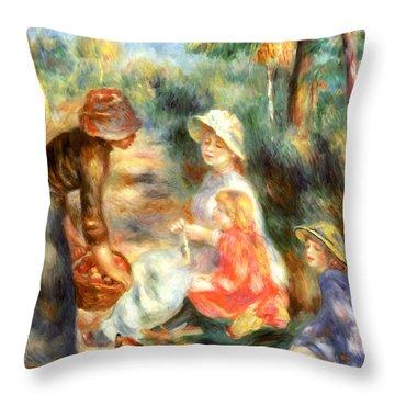 The Apple Seller Throw Pillow by Pierre-Auguste Renoir