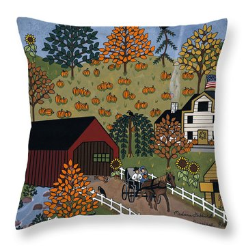 The Country Carriage Ride Throw Pillow by Medana Gabbard