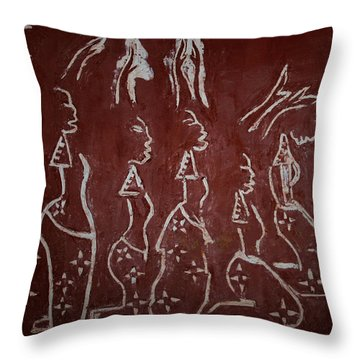 The Five Wise Virgins Throw Pillow by Gloria Ssali