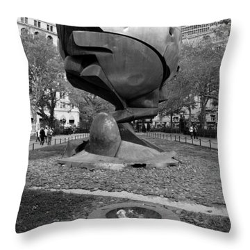 The W T C Plaza Fountain Sphere In Black And White Throw Pillow by Rob Hans