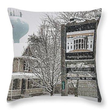 The Whitehouse Inn Sign 7034 Throw Pillow by Jack Schultz