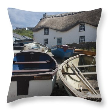 Tinker Taylor Cottage Sennen Cove Cornwall Throw Pillow by Terri Waters