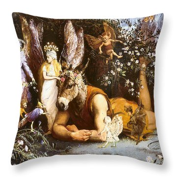 Titania And Bottom Throw Pillow by John Anster Fitzgerald