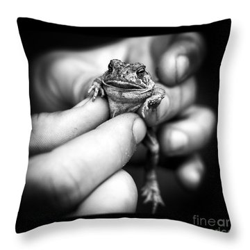Toad In Hand Throw Pillow by Edward Fielding