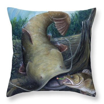 Top Dog Throw Pillow by Catfish Lawrence