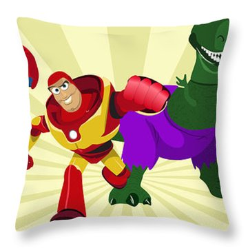 Toy Story Avengers Throw Pillow by Lisa Leeman