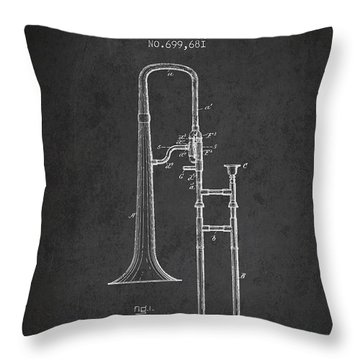 Trombone Patent From 1902 - Dark Throw Pillow by Aged Pixel