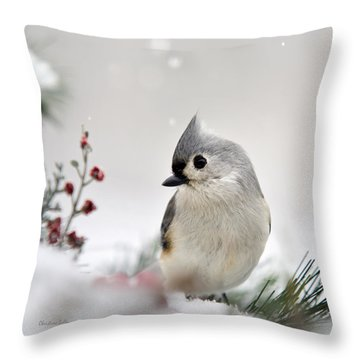 Tufted Titmouse Square Throw Pillow by Christina Rollo