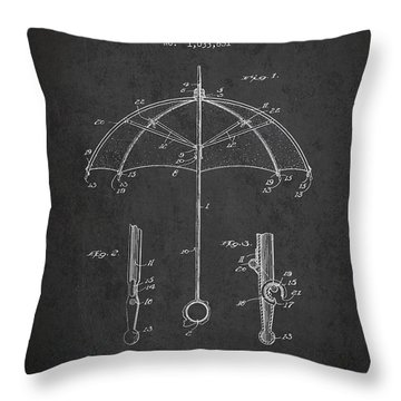 Umbrella Patent Drawing From 1912 Throw Pillow by Aged Pixel
