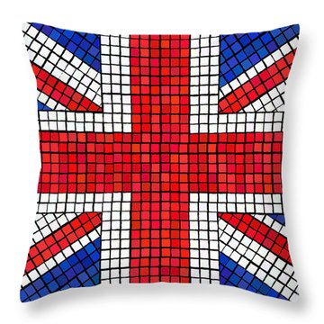 Union Jack Mosaic Throw Pillow by Jane Rix