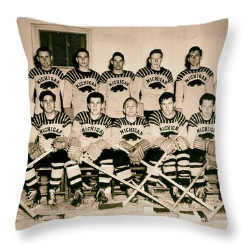 University Of Michigan Hockey Team 1947 Throw Pillow by Mountain Dreams