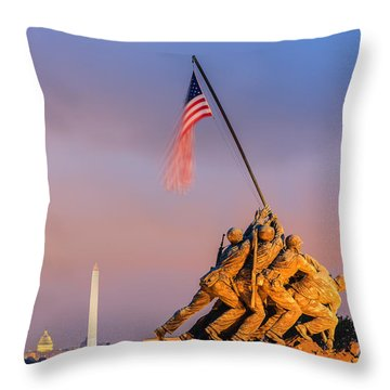 Throw Pillows Magnolia : Us Marine Corps War Memorial Photograph by Henk Meijer Photography