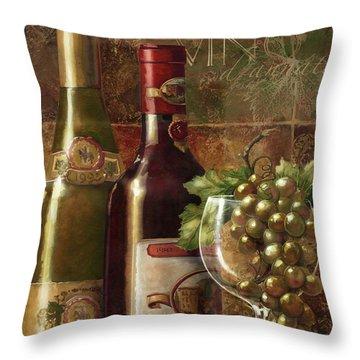 Vino D'annata Throw Pillow by Janet Stever
