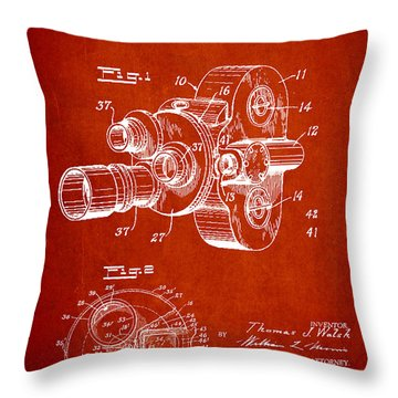 Vintage Camera Patent Drawing From 1938 Throw Pillow by Aged Pixel