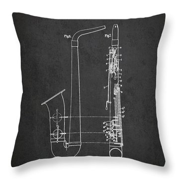 Saxophone Patent Drawing From 1899 - Dark Throw Pillow by Aged Pixel