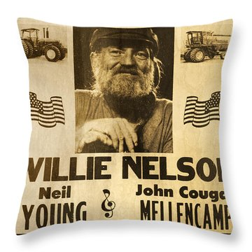 Vintage Willie Nelson 1985 Farm Aid Poster Throw Pillow by John Stephens