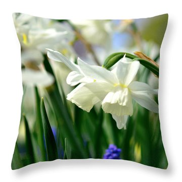 White Daffodil  Throw Pillow by Toppart Sweden