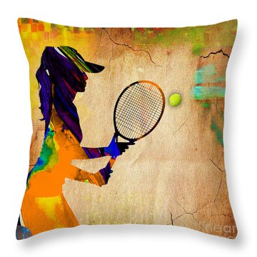 Womens Tennis Throw Pillow by Marvin Blaine