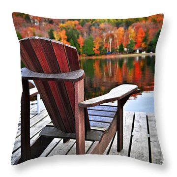 Wooden Dock On Autumn Lake Throw Pillow by Elena Elisseeva