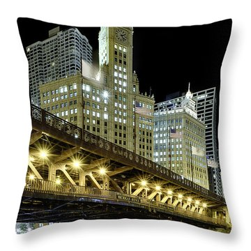Wrigley Building At Night Throw Pillow by Sebastian Musial