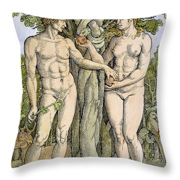 Adam And Eve Throw Pillow by Granger