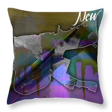 New Orleans Map And Skyline Watercolor Throw Pillow by Marvin Blaine