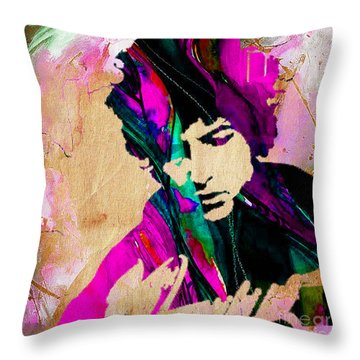 Bob Dylan Collection Throw Pillow by Marvin Blaine