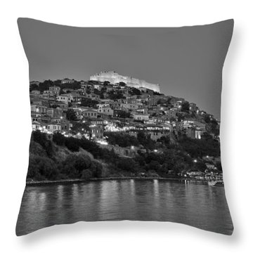 Molyvos Village During Dusk Time Throw Pillow by George Atsametakis