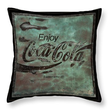 Coca Cola Sign Grungy Retro Style Throw Pillow by John Stephens