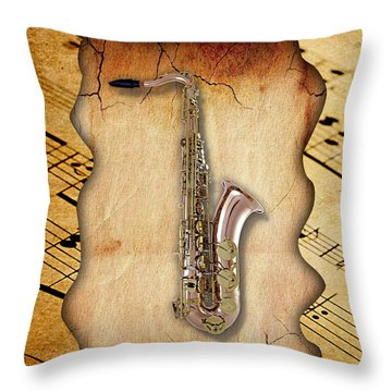 Saxophone Collection Throw Pillow by Marvin Blaine