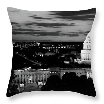 High Angle View Of A City Lit Throw Pillow by Panoramic Images