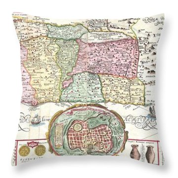 1632 Tirinus Map Of The Holy Land Throw Pillow by Paul Fearn