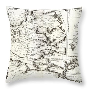 1690 Coronelli Map Of Ethiopia Abyssinia And The Source Of The Blue Nile Throw Pillow by Paul Fearn