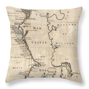 1730 Van Verden Map Of The Caspian Sea Throw Pillow by Paul Fearn