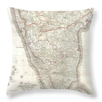 1838 Wyld Wall Map Of India Throw Pillow by Paul Fearn