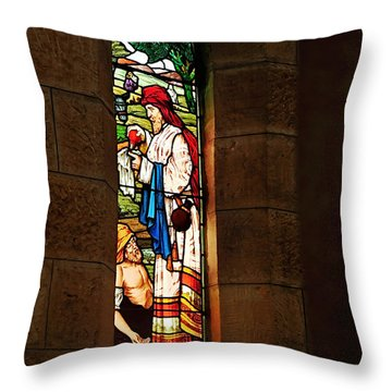 1865 - St. Jude's Church  - Stained Glass Window Throw Pillow by Kaye Menner