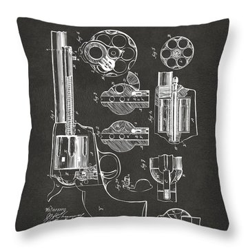 1875 Colt Peacemaker Revolver Patent Artwork - Gray Throw Pillow by Nikki Marie Smith