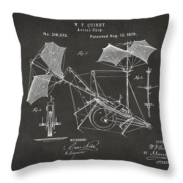 1879 Quinby Aerial Ship Patent - Gray Throw Pillow by Nikki Marie Smith