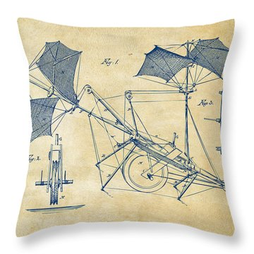 1879 Quinby Aerial Ship Patent Minimal - Vintage Throw Pillow by Nikki Marie Smith