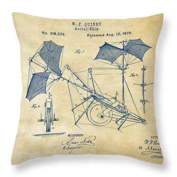 1879 Quinby Aerial Ship Patent - Vintage Throw Pillow by Nikki Marie Smith