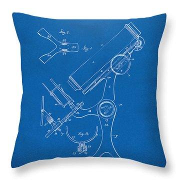 1886 Microscope Patent Artwork - Blueprint Throw Pillow by Nikki Marie Smith